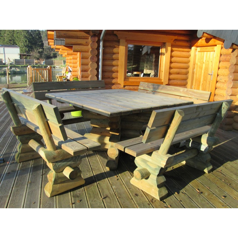 Table de jardin en bois for Plan de construction table de jardin en bois